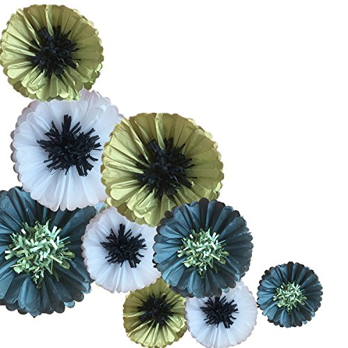 12' Black Tissue - Fonder Mols Tissue Paper Chrysanth Flowers Pom Poms Flower Backdrop Centerpiece for Wedding Nursery Wall Backdrop Centerpiece Decor (Pack of 9, Black Gold White)
