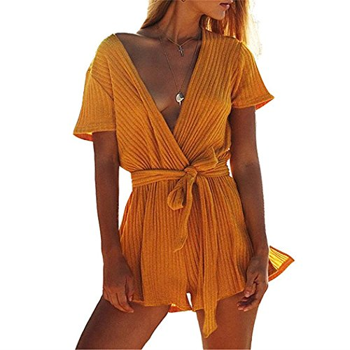 L'ananas-Women Jumpsuit Women Jumpsuit,L'ananas 2018 Beach Holiday Deep V-Neck Knitted Pinstripe Bowknot Belt Rompers Overalls (CN-S/US-2, Yellow) by L'ananas-Women Jumpsuit