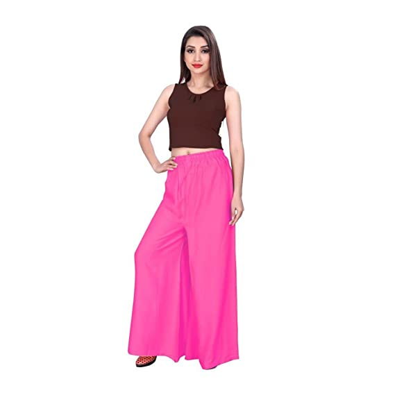 cbe46f1314e0b Women s Rayon Plazo Free Size (Pink)  Amazon.in  Clothing   Accessories