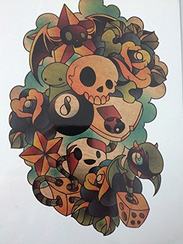 Poison ivy 8 ball fake tattoo black roses sugar skull gothic temporary tattoo water transfer anime body art (Halloween Balls Los Angeles)