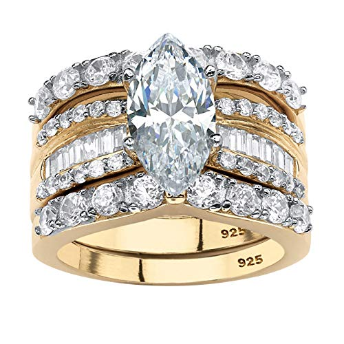 18K Yellow Gold over Sterling Silver Marquise Shaped Cubic Zirconia Multi Row Bridal Ring Set Size 7