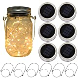 outdoor deck ideas 6-Pack Solar-powered Mason Jar Lights 20 LEDs (6 Hanger Included / No Jar),Warm White Glass Waterproof Fairy Hanging Lighting,Outdoor String Lids for Regular Mouth Jars for Patio Lamp Decor