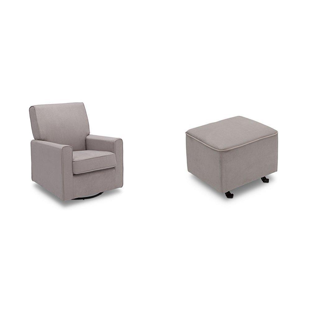Delta Furniture Ava Glider Swivel Rocker Chair and Gliding Ottoman with Soft Grey Welt, Dove Grey