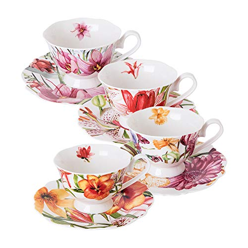 - Eileen's Reserve teacup and saucer set, new bone china tea party gift, set of 4