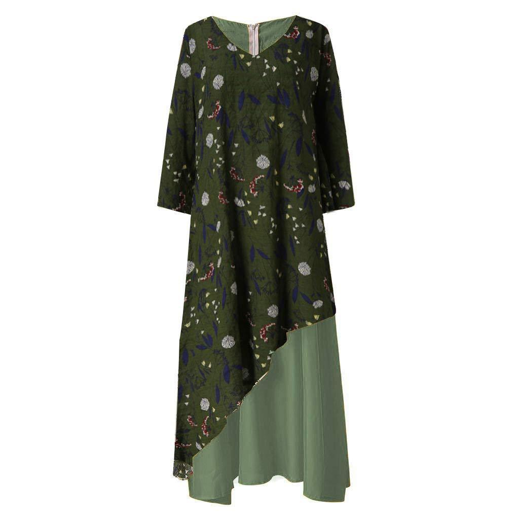 Autumn Fashion Plus Size Women Vintage V Neck Splicing Floral Printed Long Sleeve Elegant Loose fit Flowy Maxi Dress Green by Rmeioel