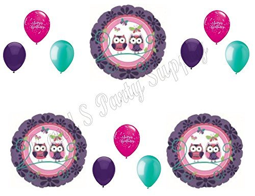 OWL PAL Purple Happy Birthday Party Balloons Decoration Supplies Girl 1st -