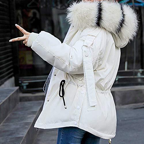 Algodón De Cálido Acolchada Casual Exterior Abrigos Acolchado Plumón Grueso Piel Ropa Corto Con Chaqueta Blanco Mujer Larga Sintética Invierno Manga Abrigo Capucha Para Cuello U84qFAwx