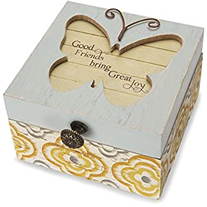 Pavilion Gift Company 41101 Simple Spirits - Patterned Butterfly Friend Jewelry Box,