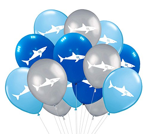Shark Party Supplies Latex Balloons - Under the Sea/Pool/Beach/Kids Birthday Decorations(36 PCS) by CocoHut