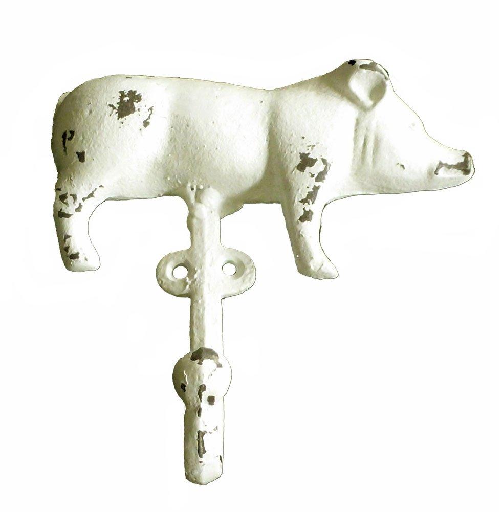 Cast Iron Farmhouse Pig Wall Hook White