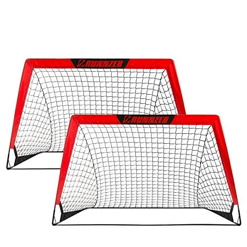 Portable Soccer Goal, Pop Up Soccer Goal for Backyard Training + Carry Case (Set of 2)