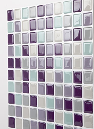 Tic Tac Tiles Anti-Mold Peel and Stick Wall Tile in Mosaic Violetmint 10 Tiles