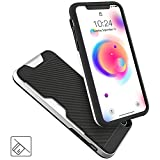 iPhone X Case, PORTHOLIC Wallet Case for iPhoneX/ iPhone 10 with Card Holder[1 Card] Shockproof Protective Case[ Ant-Scratch/ Slip/Fingerprint]- BLACK&SILVER