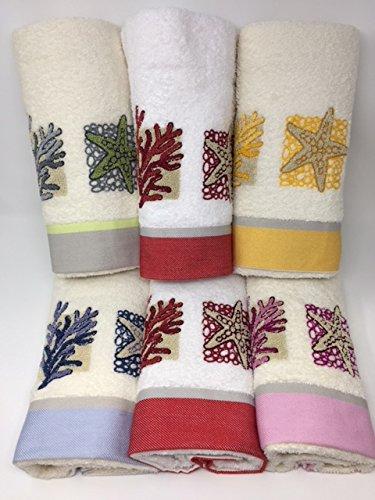 Juego toallas 6 + 6 bordadas vingi Art. Creta bordado estrella marina y corales: Amazon.es: Hogar