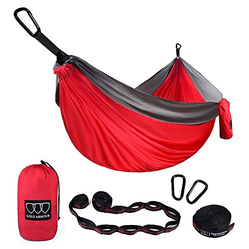 Gold Armour XL Double Parachute Camping Hammock - Tree Portable with Max 1000 lbs Breaking Capacity - Free 16 Loops Tree Strap & Carabiners for Backpacking, Camping, Hiking, Travel, Yard (Red/Gray)