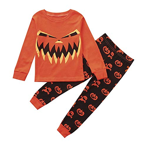 iLOOSKR Halloween Toddler Kids Long Sleeves Tops Evil Pumpkin Face Print Pants Clothes Outfit Set Orange