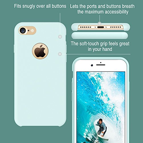 iPhone 7 Case, TORRAS [Love Series] Liquid Silicone Gel Rubber Shockproof Case with Soft Microfiber Cloth Lining Cushion for Apple iPhone 7 (2016)-Mint
