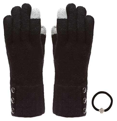 Women's Winter Touchscreen Wool Blend Soft Knitted Warm Gloves with MIRMARU Hair Tie (One Button Wool Tie)