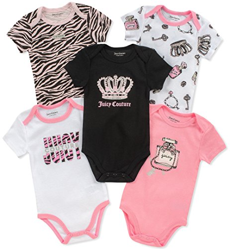 (Juicy Couture Baby Girls 5 Pieces Pack Bodysuits, Black/Pink/White, 0-3 Months)