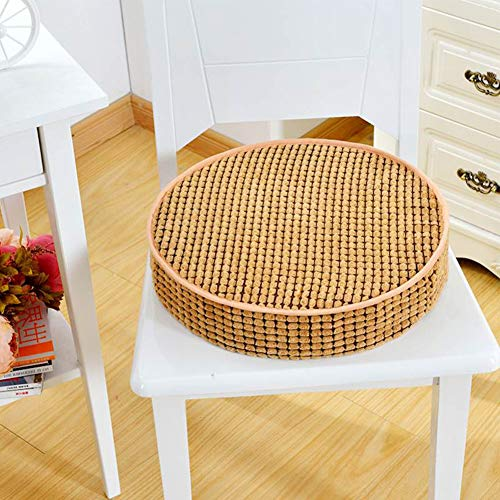 """Yoillione Round Outdoor Chair Cushions for Garden Chairs,Seat Pad Memory Foam Chair Pads,Tan Indoor Seat Cushions for Dining Room Chairs with Washable Cover,16""""/40cm"""