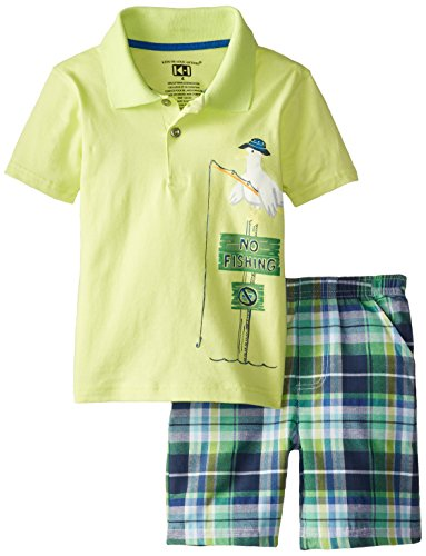 Kids Headquarters Little Boys' Polo Top with Plaid Shorts No Fishing 4-7, Green, 4