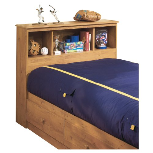 South Shore Little Treasures Bookcase Headboard with Storage, Twin 39-inch, Country Pine