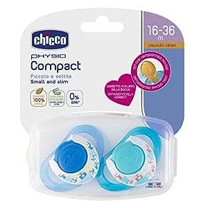 Chicco Physio Compact - Pack de 2 chupetes de látex/caucho para 16-36 meses, color azul