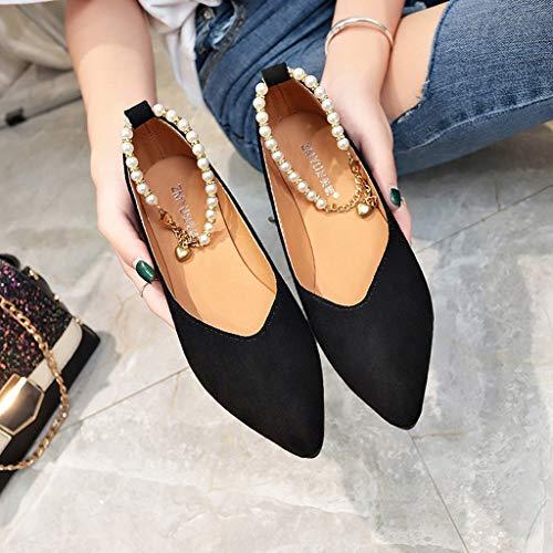 Boucle Unique Pointu Féminine Eté Noir Femmes Chaîne Chaussures Simples Perles Solide Bout Modaworld Plates De Perle Mode RnqZHZ6