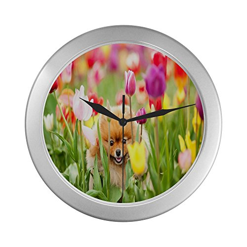 Beautiful Papillon in a Field of Tulips Decorative Wall Clock
