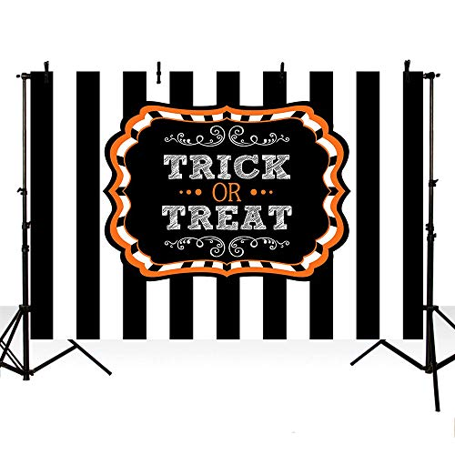 MEHOFOTO Happy Halloween Party Decoration Banner Photo Studio Booth Backgroud Black White Stripe Trick or Treat Backdrops for Photography 7ftx5ft ()
