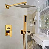 Rozin Bathroom 2-way Mixing 8-inch Rainfall Shower Set with Handheld Spray Gold Color