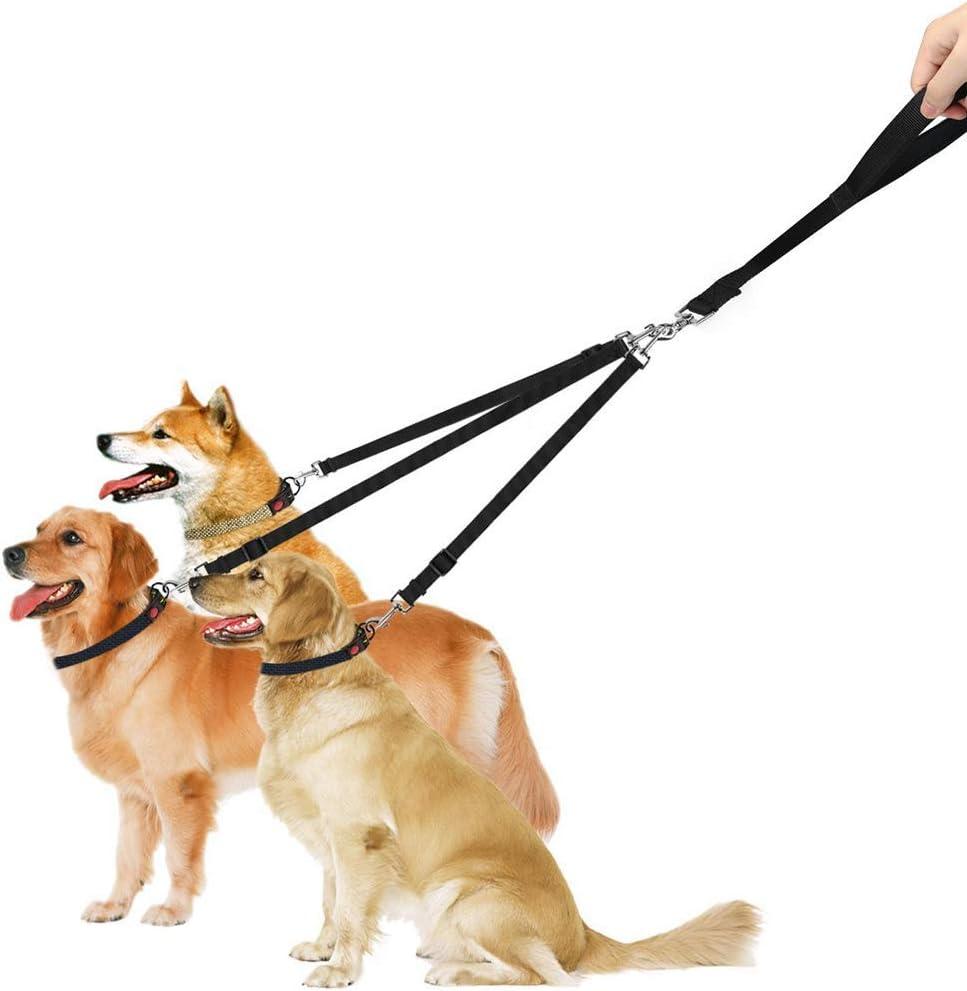 Acoplador de Correa de Perro de 3 V/ías Correa de Entrenamiento para Caminar de Perro con Mango Acolchado Cuerda de Correa de Perro Desmontable para Caminar 1//2//3 Perros