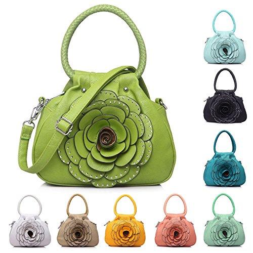 Design Taupe Floral Multiple Dark Handbag Chic Top 1 Big Dimante Pocket Bag Shoulder Zip Fashion Small Shop Handle U6xqTIw
