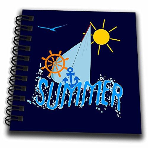 3dRose Alexis Design - Beach, Sea, Surf - Sea, sailing theme illustration, text Summer, blue background - Mini Notepad 4 x 4 inch (db_273809_3)
