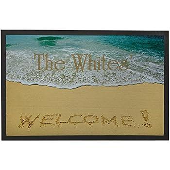 personalized front door matsAmazoncom  Custom Beach Theme Doormat OutdoorIndoor