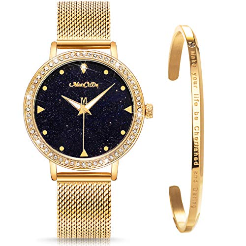 ManChDa Crystal Wrist Watch for Womens Mesh Stainless Steel Belt Quartz Diamond Luxury Fashion Classic Romatic with Jewelry Cuff Bracelet Set Gold from ManChDa
