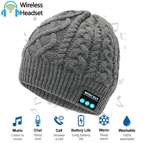 - Upgraded Wireless Bluetooth Beanie Hat Headphones V4.2, Outdoor Sports Knit Hat Built-in HD Stereo Speakers & Microphone, Unique Christmas Tech Gifts for Men/Dad/Women/Mom/Teen Boys/Girls