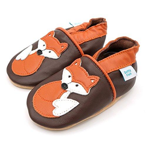 Dotty Fish Weiche Baby und Kleinkind Lederschuhe - Jungen und Mädchen - Tiere Braun mit orangefarbenem Fuchs