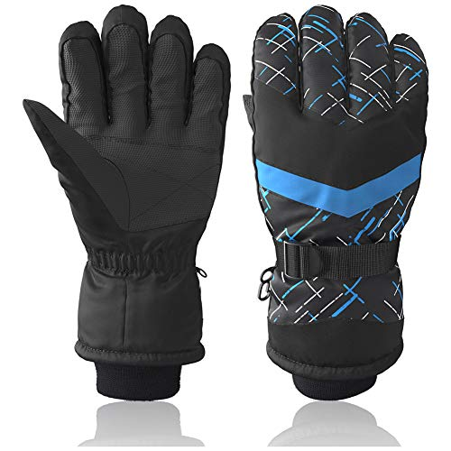 Winter Snow Ski Gloves, Breathable Waterproof Mittens Warm Gloves for Outdoor Cycling Snowboard Hiking Mountain Climbing, Black Blue (AG-04) (Best Midwest Ski Resorts)