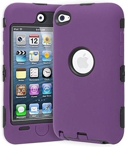Deluxe Purple 3 part Hard Skin Case Cover compatible with Ipod Touch 4Th Gen (4th Gen Ipod Case Purple)