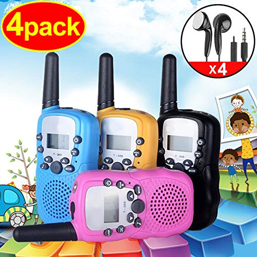 4 Pack Kids Walkie Talkie with 4 Earpieces Girls Boys Toddler School Supplies with Flashlight 3 Miles Range Two-Way Radio 22 Channel FRS Camping Hiking Game Accessories Talkie Toys for Classroom Gift