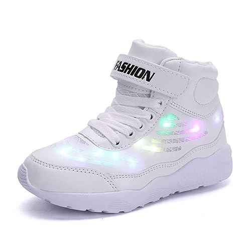 Axcone LED Zapatos Transpirable 7 Colores USB Luz Zapatos de Deporte de Zapatillas con Luces para