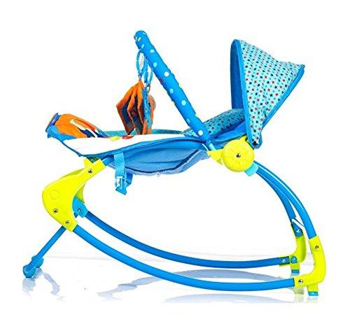 just4baby blau Circus Bouncer Musical Melodien Beruhigende Vibration Baby Bouncing Rocker Liegestuhl mit 3/h/ängende Spielzeuge