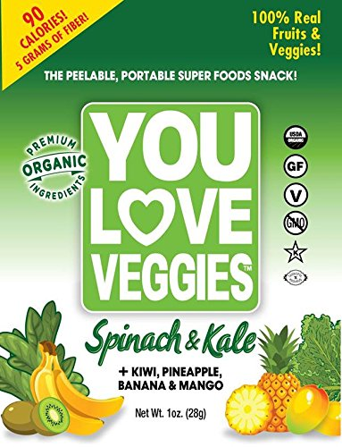 You Love Fruit Organic Fruit/Veggie Leather, Kale & Spinach, 1 Ounce (Pack of 12)