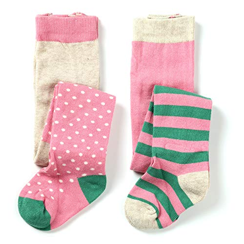 - Little Baby Girls Fashion Cotton Knit Legging Tight 2 pack (Stripes & White spot, 3-4 years)