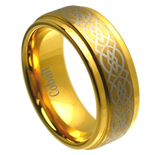8mm Cobalt Chrome Wedding Band Ring Yellow Gold Plated High Polish Laser Engraved Celtic Knot Pattern Stepped Edge (8.5) ()