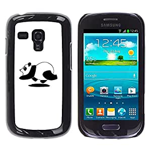 All Phone Most Case / Hard PC Metal piece Shell Slim Cover Protective Case for Samsung Galaxy S3 MINI NOT REGULAR! I8190 I8190N Panda Bear Running Cute Black White Art