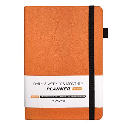 (2019 Planner, Hardcover Undated Daily Weekly Monthly Planner Notebook A5 Agenda with Pen Holder, Note Pages and Calendar Stickers to Achieve Your Goals Journal)