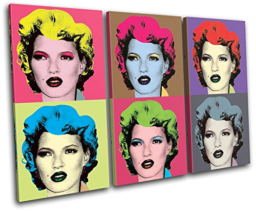 Bold Bloc Design - Warhol Kate Moss Banksy Painting 60x40cm TREBLE Canvas Art Print Box Framed Picture Wall Hanging - Hand Made In The UK - Framed And Ready To Hang
