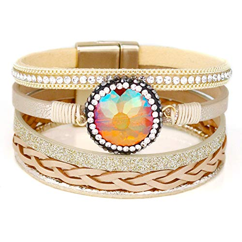- Eivanc Yellow Crystal Natural Stone Bracelet Multi-Layer Wrap Leather Bracelet Heart Natural Stone Magnet Buckle Handmade Boho Cuff Bracelet Jewelry for Women and Girls Gift